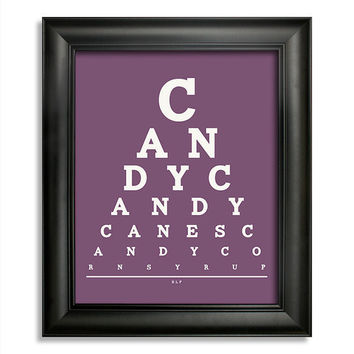 Elf Quote, Candy, Candy Canes, Candy Corn, Syrup Eye Chart, 8 x 10 Giclee Print BUY 2 GET 1 FREE
