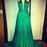 Sexy Floor-Length Green Prom Dresses,Dress For Prom, Evening Dresses