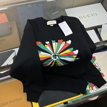 GUCCI Colorful bouquet lovers round neck sweatshirt