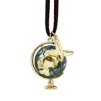 Vintage Style Spinning Earth Globe and Airplane Pendant Necklace | DOTOLY