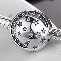 Authentic 925 Sterling Silver Bead Charm Crystal Twinkling Night Star Clip Stopper Bead Fit Pandora Bracelet