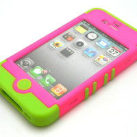 iPhone 4 4S Hybrid 3IN1 Rocker Green Soft Inner+Pink Girly Hard Candy Case Cover