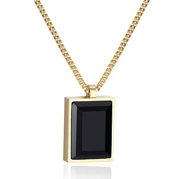Women Necklace Classic Exquisite Square Big Black Crystal Pendant Fine Jewelry Necklaces For Women