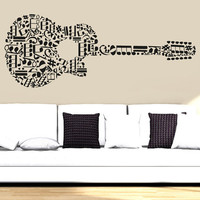 Wall Decal Vinyl Sticker Decals Art Decor Design Guitar Notes Melody Electro Music Musicant Band Rock Star Mans Gift Bedroom Dorm (r765)