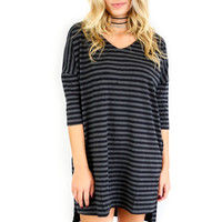 Running around Town Charcoal And Black Stripe Knit Tee Dress