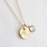 Black Friday Sale Initial Charm With Swarovski Stone Necklace - 14k Gold Filled Chain - Simple Everyday Necklace - Personalized Necklace - I