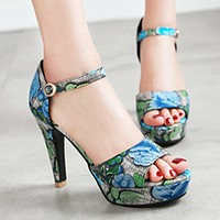 2018 summer new fish mouth shoes high heel waterproof hollow word buckle female sandals