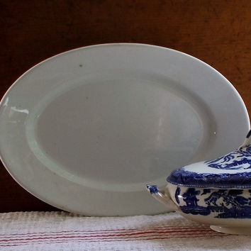 Antique Ironstone Platter, Maddock, England, Large Size, Serving Dish, White Iron Stone
