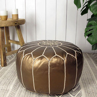 Copper Leather Moroccan Pouf