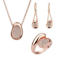 Gold Plated Crystal CZ Rhinestone jewelry Sets Necklace, Ring, Earrings