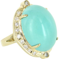 Egg Shell Blue Turquoise Diamond Vintage Cocktail Ring 14 Karat Gold Estate Jewelry