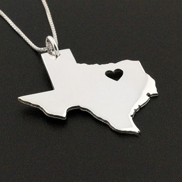 State necklace Texas necklace sterling silver Texas state necklace with heart comes with Box chain