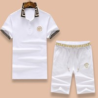 VERSACE Fashion Men Casual Embroidery Shirt Top Tee Shorts Set Two-Piece White