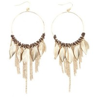 THREADED FEATHER & CHAIN FRINGE HOOP EARRINGS