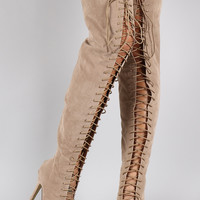 Liliana Peep Toe Lace Up Stiletto Thigh High Boot