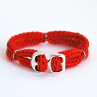 Red nautical bracelet, red bracelet with anchor, anchor bracelet, cord bracelet, unisex bracelet