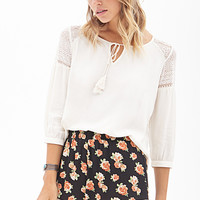 FOREVER 21 Crochet-Trimmed Floral Shorts Black/Rust