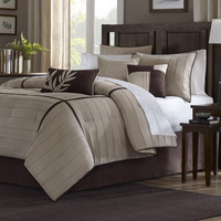 Queen Size 7 Piece Bed In A Bag Beige Stripe Comforter Set