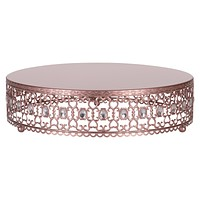 16 Inch Metal Wedding Cake Stand Riser with Crystal Rhinestones (Rose Gold)