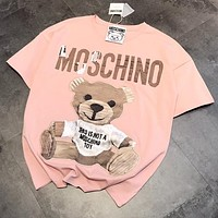 MOSCHINO Fashion Women Men Cute Bear Print Short Sleeve Pink T-Shirt Top