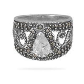 Filigree Marcasite and Pear Cubic Zirconia Ring