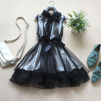 A 083113 aaa Organza bow dress ( with belt )