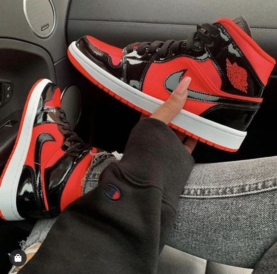 Image of Nike Air Jordan 1 mid aj1 Mid top black and red basketball shoes