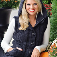 Rhea Hooded Cable Knit Sweater Vest With Button Front: Navy