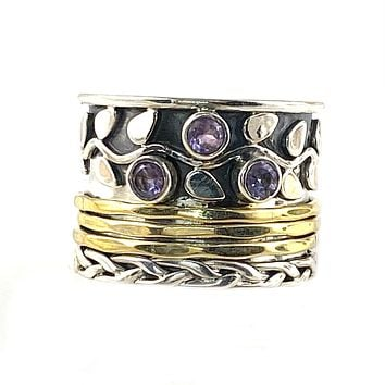 Spinner Ring - Two Tone Amethyst Vine Ring