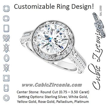 Cubic Zirconia Engagement Ring- The Eowyn (Customizable Vintage Artisan Round Cut Design with 3-Sided Filigree and Side Inlay Accent Enhancements)