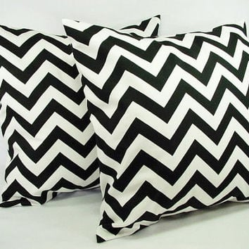 Chevron Decorative Throw Pillow Covers Black and White - 20 x 20 inches Cushion Cover Accent Pillow