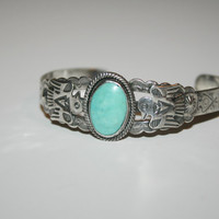 Beautiful Vintage Turquoise Sterling Silver Bracelet 5.75 in -US free shipping