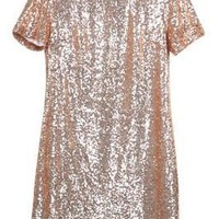 Glitzy Night Out Short Sleeve Sequin Dress Relax Fit