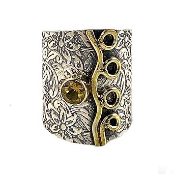 Two Tone Artisan Citrine Wide Band Ring