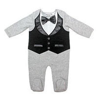 Babyrageous Boys Light Grey Faux Tuxedo Footie