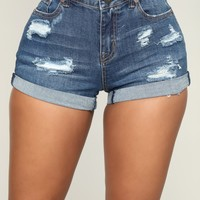 Raleigh Distressed Denim Shorts - Medium Blue Wash