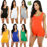 Women Summer Bodysuit Rompers Womens Jumpsuit Sexy Sleeveless mujer Backless Shorts Bodycon combinaison sportswear Siamese WP26