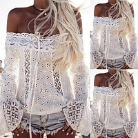 Strapless Fashion Lace Up Tassels Shirt Top Tee