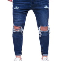 Men Stretch Skinny Jeans Distressed Retro Hole Solid Men Denim Jeans Vintage Casual Ripped Pleated Washed Pencil Pants