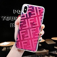FENDI Newest Fashionable Personality Mobile Phone Cover Case For iphone 6 6s 6plus 6s-plus 7 7plus 8 8plus X XSMax XR Rose Red