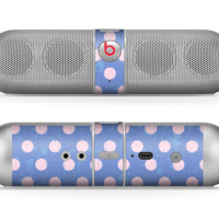 The Vintage Scratched Pink & Purple Polka Dots Skin for the Beats by Dre Pill Bluetooth Speaker