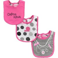 Calvin Klein Newborn Girls 3Pc Layette Assorted Bib Set (ONE SIZE)