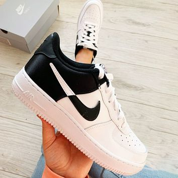 Nike Air Force 1 Silk Contrast Fashionable Women Men Casual Sport Running Shoes Sneakers