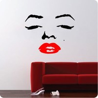 Marilyn Monroe Face Wall Decal Decor Quote Face Red Lips Large Nice Sticker