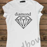 Women's T shirt White Diamond on a Bike Ladies Tshirt,Screen Printing Tshirt,Women's Tshirt,White Tshirt,Size S, M, L