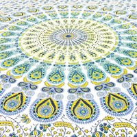 TWIN WHITE YELLOW INDIAN HIPPIE MANDALA TAPESTRY ART BEDSPREAD Beach Dorm Decor