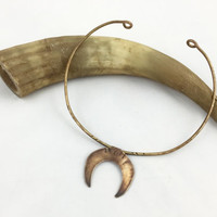 Antique Brass Crescent Choker Cuff Necklace