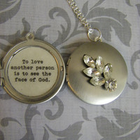Silver Vintage Jewel Locket Necklace Les Miserables Quote To love another person is to see the face  of God  Les Mis