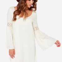 Coveted Company Long Sleeve Cream Shift Dress