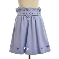 Light Purple Lolita Skirt with Heart Hollow Out Women Summer Belt Mini Skirt